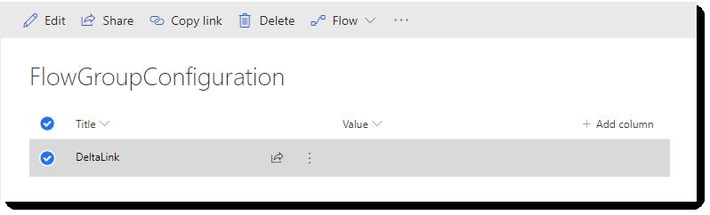 The DeltaLink Configuration item