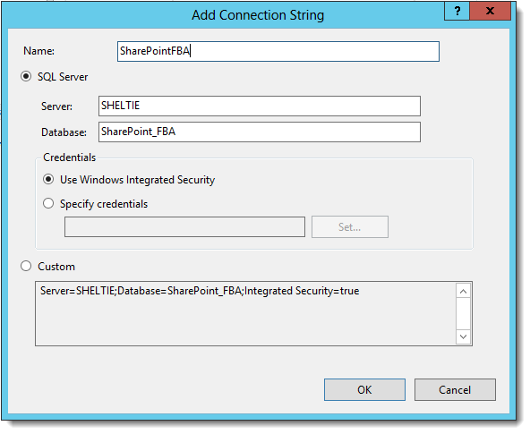 Add connection string