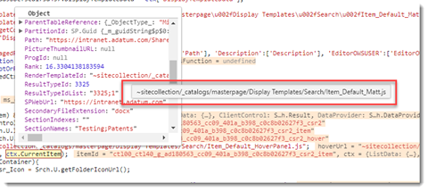Code inspector showing relative URL